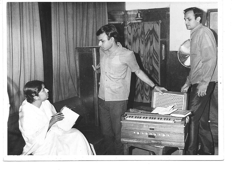 Lata with Kalyanji Anandji (Anandji on the Lt., Kalyanji on the Rt.)