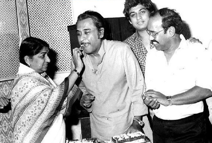 Lata with Kishore Kumar and Amit Kumar