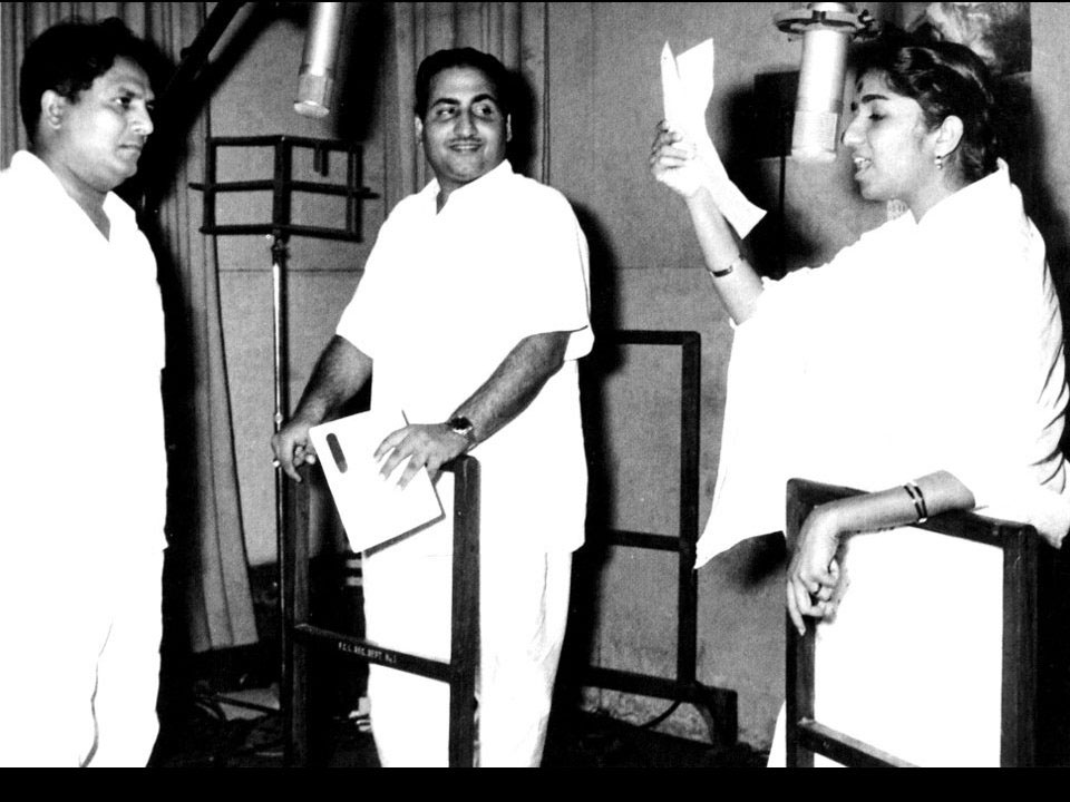 Lata with Shankar and Mohammed Rafi
