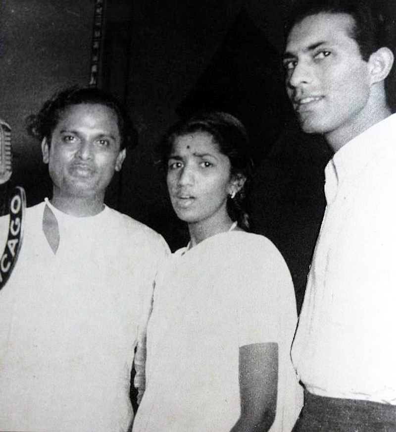 Lata with Anil Biswas and Talat Mahmood