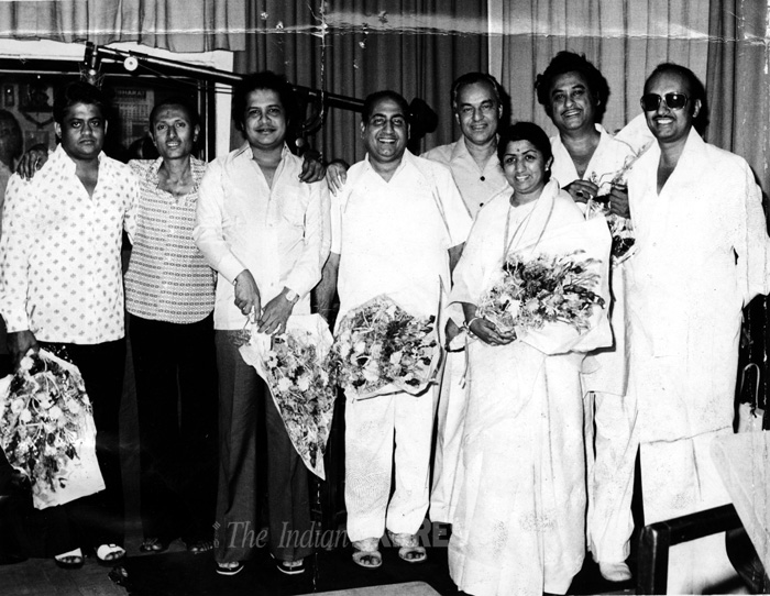 Lata with Pyarelal,Laxmikant,Mohd. Rafi, Mukesh and Kishore Kumar