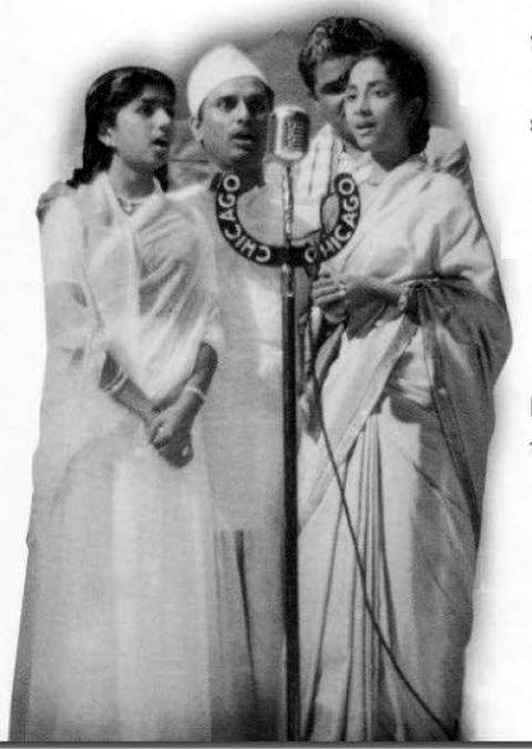 Lata with Anil Biswas and Geeta Dutt