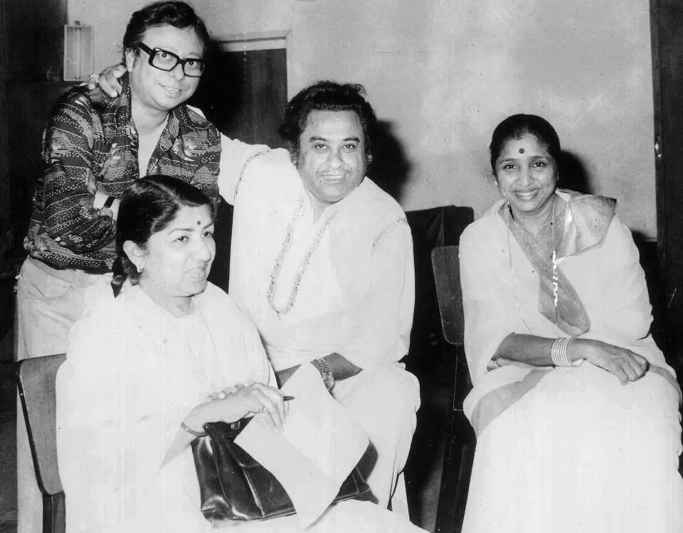 Lata with R.D. Burman, Kishore Kumar and Asha Bhosle