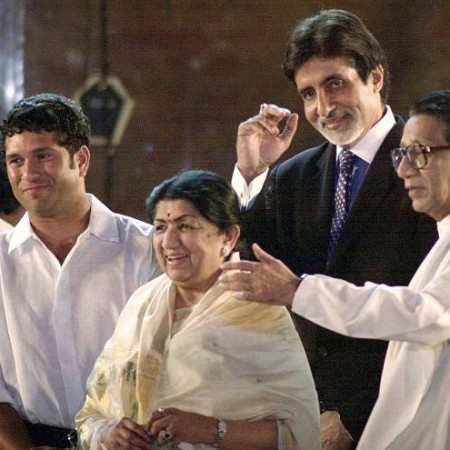 Lata with Sachin Tendulkar, Amitabh Bachchan and Balasaheb Thakre
