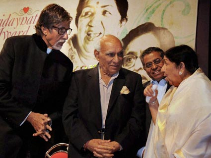 Lata with Amitabh Bachchan and Yash Chopra