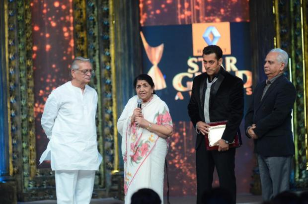 Lata with Gulzar, Salman Khan and Ramesh Sippy