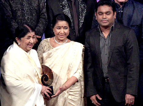 Lata with Asha Bhosle and A.R. Rahman