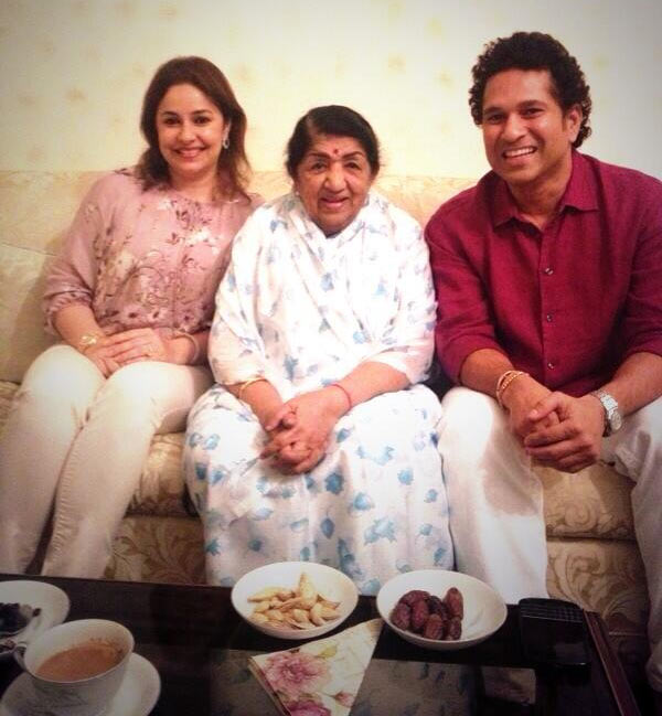 Lata with Tendulkars-Anjali and Sachin