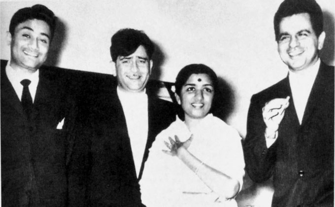 Lata with Dev Anand, Raj Kapoor and Dilip Kumar