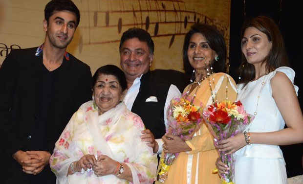 Lata with Kapoors-Ranbir, Rishi, Neetu and Riddhima