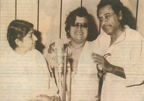 Lata with Bappi Lahiri and Kishore Kumar